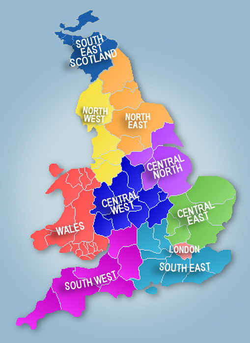Map showing regional networks of SCBWI British Isles