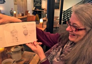 Clare at one of our Sketch Crawls. Photo by Paul Morton.